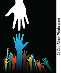 Vector background illustration with helping hand concept on black