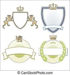 Heraldic crown, lions & shields