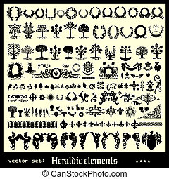heraldic elements floral collection