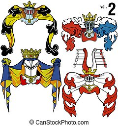Heraldic Helmets vol.2 - Coloured illustration.