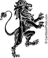 Heraldic Lion Standing Rampant On Hind Legs