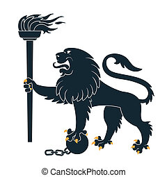 Black heraldic lion with torch and shackles