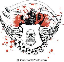 heraldic soccer coat of arms crest in vector format