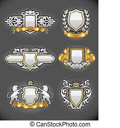 heraldic vintage emblems set silver and gold vector illustration