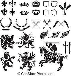Heraldry Icon Vector Set. Colors are easily editable.