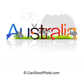 High resolution Australia illustration with floral and animal elements.