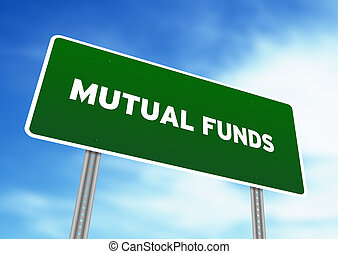 High resolution graphic of a Mutual Funds Highway Sign on Cloud Background.