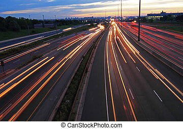 Highway at night with light and sky