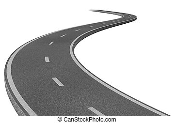Curved highway road representing the concept of a planned strategic journey to a goal related destination represented by a single paved pathway with two lanes.