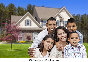 Hispanic Family in Front of Beautiful House