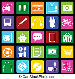 Hobby colorful icons on black background, stock vector
