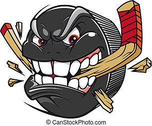 Hockey puck break hockey stick