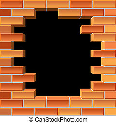 vector background of the brick wall with hole