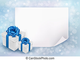 Holiday background with sheet of paper and gift boxes with blue bow and ribbon
