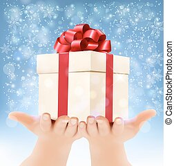 Holiday christmas background with hands holding gift box. Concept of giving presents. Vector