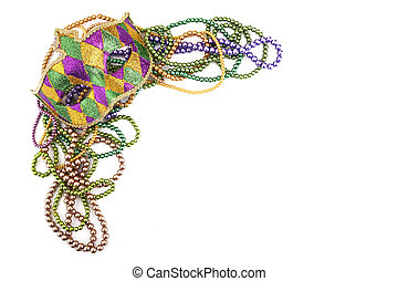 holiday or mardi gras beads and mask making frame isolated on white background