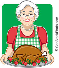 Vector Illustration of a grandmother cooking/serving a holiday turkey.