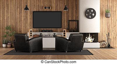 Home cinema in rustic stryle