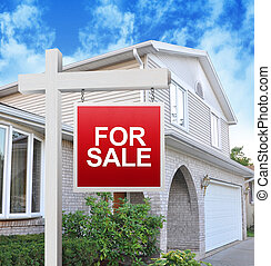A home is advertising a for sale sign on a wooden sign post in red. Use it for a housing market concept.