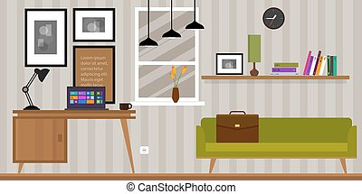 home interior work space table and sofa
