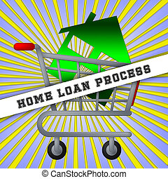 Home Loan Process Icon Depicts Mortgage Stages For Borrowing Money - 3d Illustration