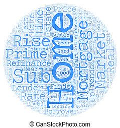Home Mortgage Refinance Sub Prime Market Trends text background wordcloud concept