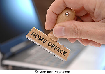 home office printed on rubber stamp in office