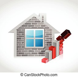 home prices falling concept illustration