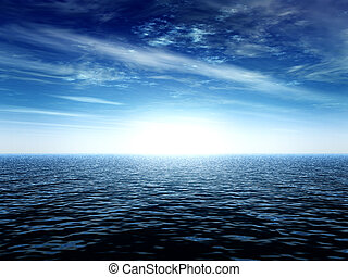 ocean landscape with a light at the horizon
