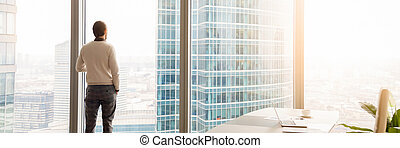 Horizontal image rear view businessman standing looking through panoramic window