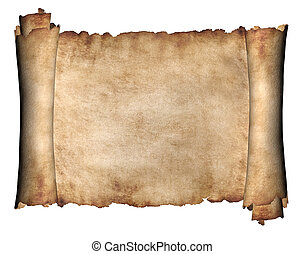 Manuscript horizontal burnt rough roll of parchment paper texture background