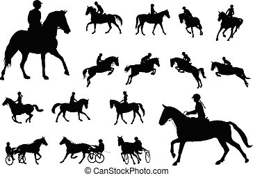 horse riding silhouettes collection. Equestrian sport and recreation silhouettes