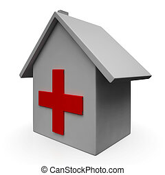 Hospital Icon Shows Emergency Medical Clinic Or Healthcare