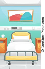 Hospital room with a bed and bedside tables. Cozy hospital. Fighting coronavirus in hospitals.