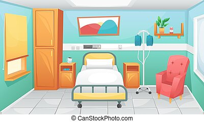 Hospital room with a bed, bedside tables and a chair for visitors. Fighting coronavirus in hospitals.