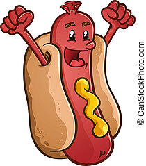 A smiling hot dog character with his fists in the air in celebration! An expression of success or happiness.