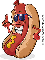 A hot dog cartoon character with attitude, wearing cool sunglasses and pointing with authority