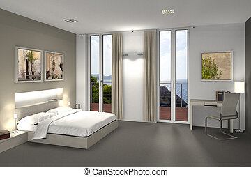 fictitious 3D rendering of a bedroom or hotel room