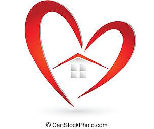 House and heart logo vector