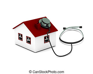 House diagnostics. House with stethoscope isolated on white background. High quality 3d render.