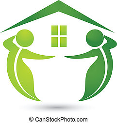 House ecological with leafs logo