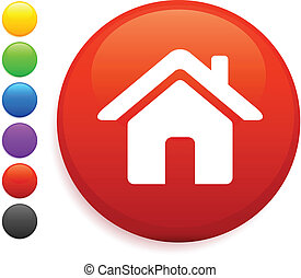 house icon on round internet button original vector illustration 6 color versions included
