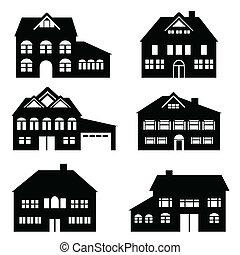 Various single family houses icon set