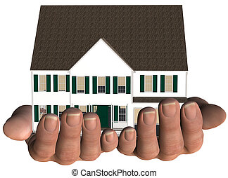 A home / house held in hands. White with green trim. Real estate, home insurance, mortgage... 3D render NOT a photo.