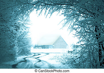 House in snow fairy winter forest