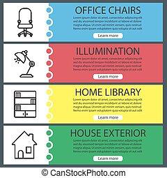 House interior banner templates set