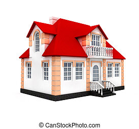 New house isolated 3d model over white background