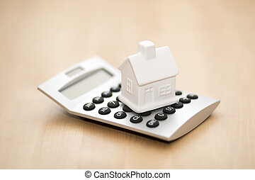 House miniature on calculator