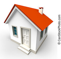 house model with red roof on white background. clipping path included