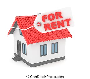 House real estate for rent. 3D rendering.